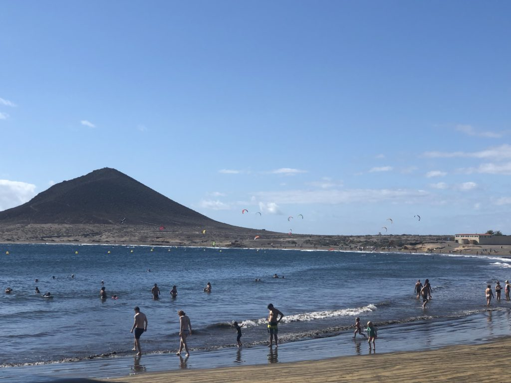 Kite surfers and swimmers at Médano beach, Tenerife